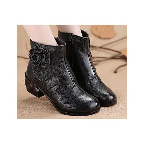 RTRY Chaussures pour femmes en cuir véritable hiver Pu Bottes Mode chaussures de Combat Talon plat Bottes / Boots Chaussures Casual pour rouge noir