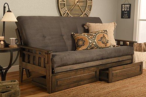 Kodiak Furniture KF Tucson Full Futon Set in Rustic Walnut Finish with Storage Drawers Suede Gray