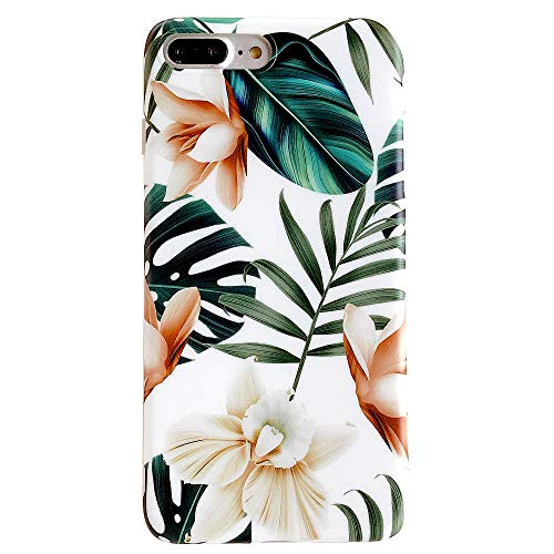 Leaf Phone Cover - iPhone 8 Plus Case, 7 Plus Case for Girls, ooooops Green Leaves with White&Brown Flowers Pattern Design,Slim Fit Clear Bumper Soft TPU Full-Body Protective Cover for iPhone 7Plus 8Plus(Leaves&Flowers)