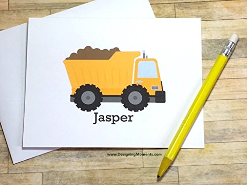 (Dump Truck Stationery Set - Personalized Boys Stationary - Kids Cards -Construction Cards - Thank You Cards - Yellow Construction Truck Card)