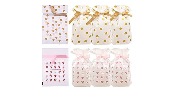 Amazon.com: 24 bolsas de regalo de plástico dorado con ...