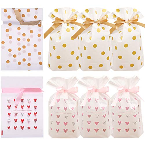 - 24pcs Treat Bags Party Favor Bags Plastic Drawstring Gift Bags Candy Goodies Bags Food Storage Bags Gift Wrapping Package for Birthday Party Wedding Baby Shower Bridal Shower Holiday Party