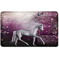 Memory Foam Bath Mat,Fantasy Decor,Unicorn in Rose Garden Summer Flying Butterflies Romance Fairy Tail Themed Art DecorativePlush Wanderlust Bathroom Decor Mat Rug Carpet with Anti-Slip Backing,Pink