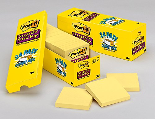 - Post-it Super Sticky Notes, 2x Sticking Power, 3 x 3-Inches, Canary Yellow, 24-Pads/Cabinet Pack