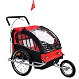 Giantex Child Trailer Bicycle Double Foldable Bike Carrier Jogger Stroller Outdoor Weather Resistant Deluxe Seat for 2 Kids Portable Baby Bike Trailer W/Canopy Cover, Safety Belt & Hand Brake