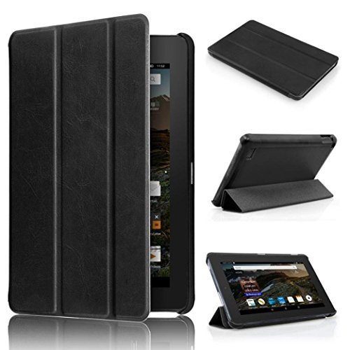 Fire HD 7 Case,GOTD Tri-Fold Kindle Fire HD 7 Tablet Case Full-body Protective Case Cover,Ultra Slim Leather Case Stand Cover Bumper with Magnetic Lock (Black)