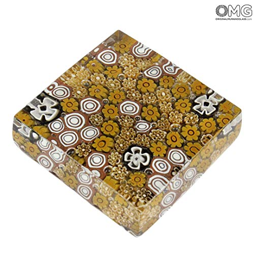 - Original Murano Glass OMG Paperweight Pompei - Millefiori Brown - Murano Glass