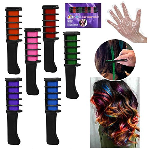 WAHUK 6 pcs Color Hair Chalk Comb Shimmer Hair Dye Chalk Comb Temporary Hair Color Cream Natural Hair Chalk for Halloween Christmas Party Supplies (Free hair elastic, disposable gloves and shawl) by WAHUK (Image #1)
