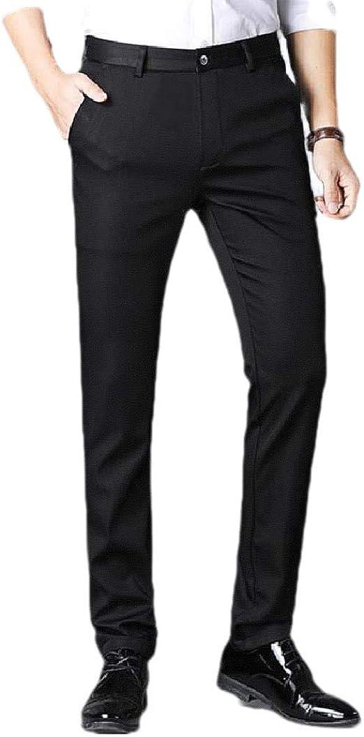 VITryst Men's Straight Leg Mid Waist Solid Color Business Plain-Front Dress Pant