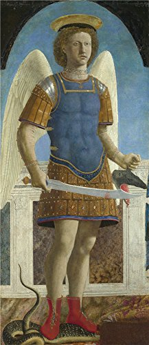 'Piero Della Francesca Saint Michael ' Oil Painting, 18 X 42 Inch / 46 X 106 Cm ,printed On Perfect Effect Canvas ,this High Definition Art Decorative Canvas Prints Is Perfectly Suitalbe For Gym Decor And Home Decor And Gifts