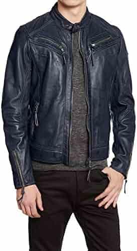 Mens Slim Genuine Lambskin Leather Designer Motorcycle Jacket LF660