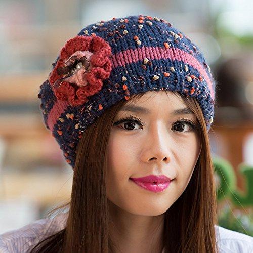 Punto Maozi Sombrero de Lana Coreana de Versión Sombreros señoras Blue Invierno Mano BLUE de Flores otoño e Cuentas enganchado OOwHxq4