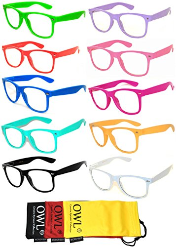 Retro Style Vintage Clear Lens Sunglasses Colored Frame 10 Pack - Online Fashion Glasses