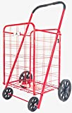 ATH Large Deluxe Rolling Utility / Shopping Cart - Stowable Folding Heavy Duty Cart with Rubber Wheels For Haul Laundry, Groceries, Toys, Sports Equipment, (Red, XL)