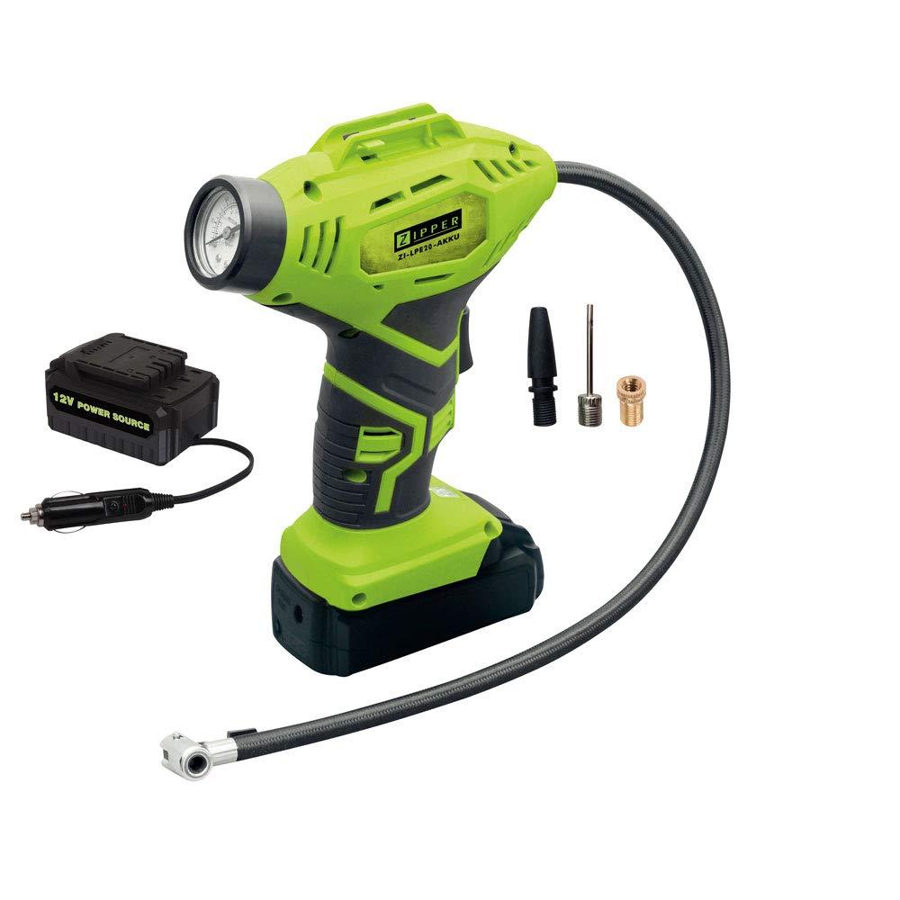 Zipper 1,3 Ah Zipper ZI-LPE20-AKKU Compresseur gonfleur sans fil avec chargeur de voiture et accessoires 18V