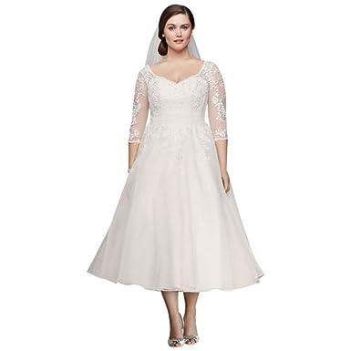 David\'s Bridal Tulle Plus Size Tea-Length Wedding Dress Style ...