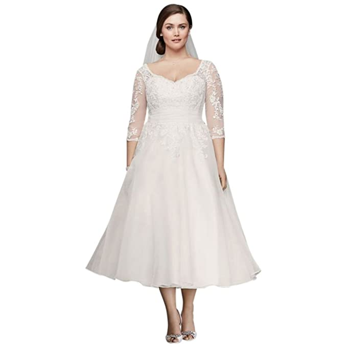Tulle Plus Size Tea,Length Wedding Dress Style 9WG3857 at