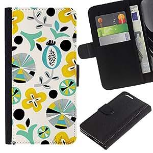 KLONGSHOP // Tirón de la caja Cartera de cuero con ranuras para tarjetas - Patrón Arte Formas Teal Amarillo - Apple Iphone 6 PLUS 5.5 //