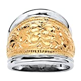 14k Yellow Gold-Plated .925 Sterling Silver Two-Tone Scroll Motif Cigar Band Ring