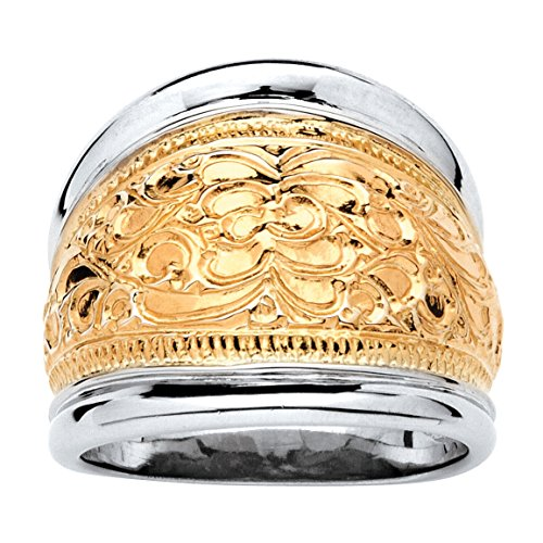 (14k Yellow Gold-Plated .925 Sterling Silver Two-Tone Scroll Motif Cigar Band Ring Size 10)
