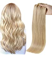 Full Shine Clip In Hair Extensions With Tapes 18 Inch Color 16 And 22 Highlighted 8 Pcs Seamless ...