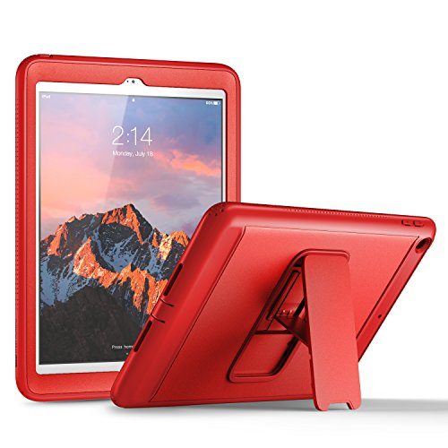 YOUMAKER New iPad 9.7 Case 2018/2017, Heavy Duty Kickstand with Built-in Screen Protector Full-body Shockproof Protective Case Cover for Apple iPad 9.7 inch 2017/2018 5th/6th Gen - Red Apple Ipad Case