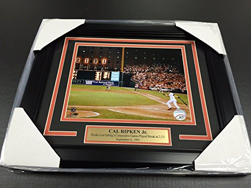 CAL RIPKEN JR 2131 BALTIMORE ORIOLES BREAKS LOU GEHRIGS RECORD 8x10 PHOTO FRAMED - Cal Ripken Memorabilia