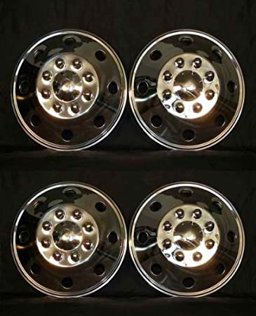 "16/"" Front Stainless Steel Truck Van Trailer Wheel Simulators Rim Hub Cap Covers"