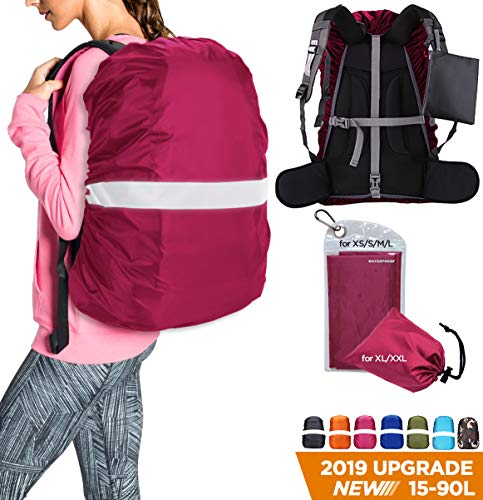 Fuchsia 50 Beads - Hunsuetek Reflective Backpack Rain Cover, Waterproof Travel Pack Cover with Anti Slip Adjustable Buckle Straps, Rainproof Pouch for Hiking/Cycling/Traveling/Men/Women (Fuchsia, L(50L-65L))