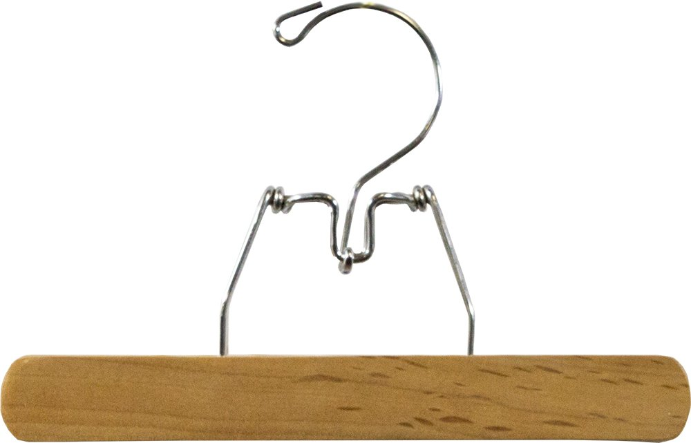 Box of 12 Pant Hangers with Natural Finish and Chrome Swivel Hook International Innovations Wooden Clamp Hanger with Easy Snap Lock