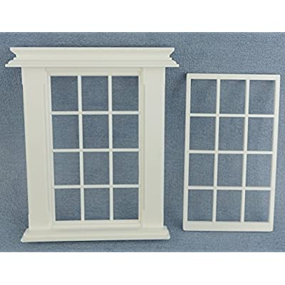 Melody Jane Dollhouse Miniature White Plastic Georgian Window Frame 12 Pane 1:24 Scale: Toys & Games