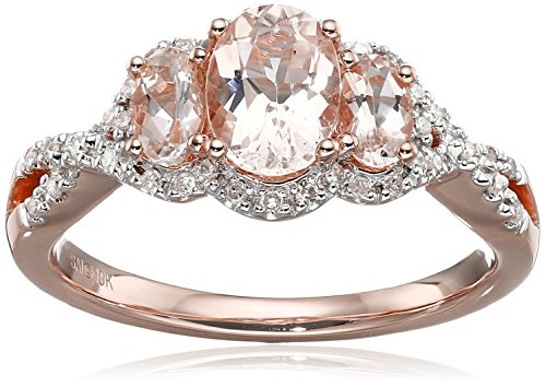 10k Pink Gold Morganite and Diamond 3 Stone Ring (1/10cttw, I J Color, I2 I3 Clarity), Size 7