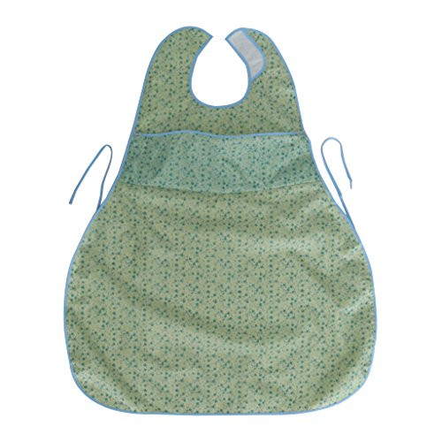 D DOLITY Waterproof Adult Mealtime Pocket Bibs Saliva Towel Cotton Aid Eating Apron for Bedridden, Patients who Lack Ability to Have Meal - Green by D DOLITY
