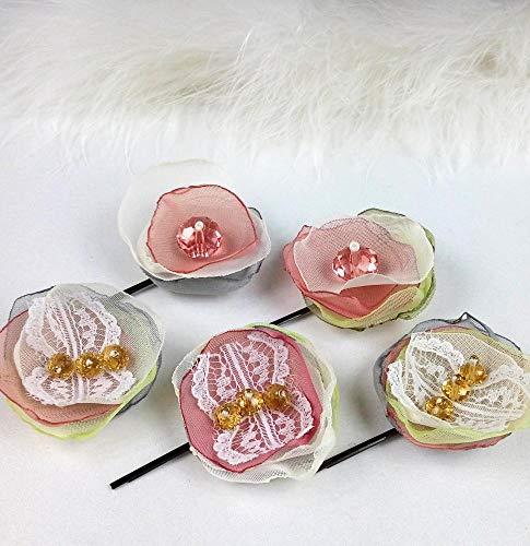 Blush pink lace hair flower Wedding hair flowers, Wedding headpiece set 5 by Studio SilkFantazi