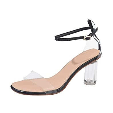 8ad9cfadb33 BaZhaHei Women s Lucite Clear Strappy Block Chunky High Heel Open Peep Toe  Sandal Buckle Strap Round Toe Summer Sandals Plastic Shoes Size 2.5-6  Black  ...