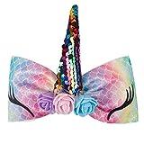 """Ncmama 6"""" Girls Hiar Bow Rainbow Glitter Bows Clip"""