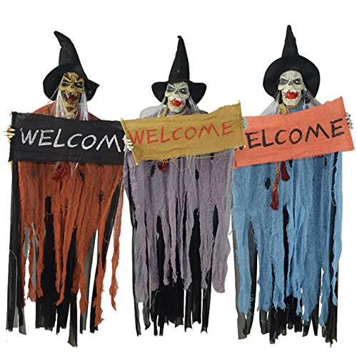 [THEE Hanging Animated Talking Witch Halloween Haunted House Prop Decor] (Halloween Prop)