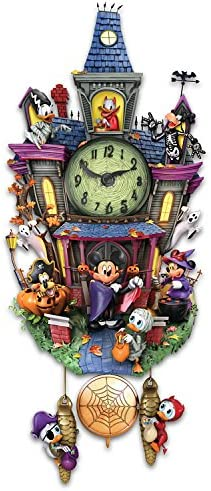 The Bradford Exchange Disney Halloween Themed Cuckoo Clock with 9 Disney Characters Lights and Music