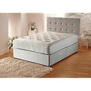 Sleep Factory Ltd Plush Velvet Divan Bed Set with Orthopaedic Mattress,Headboard and 2 Free Bed Drawers, 4FT6 Double…