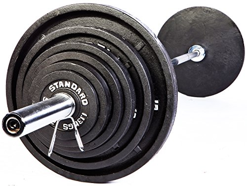 Troy USA Sports Standard Olympic Weight Plates Black - 500 LB Set by USA Sports