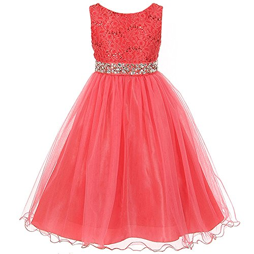 Little Girls Sleeveless Dress Glitters Sequined Bodice Double Layer Tulle Skirt Rhinestones Sash Flower Girl Dress Coral - (Girls Pageant Dress Size 6)