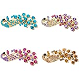 Polytree 4pcs Fashion Vintage Peacock Full Crystal Rhinestones Hairpin Hair Clip