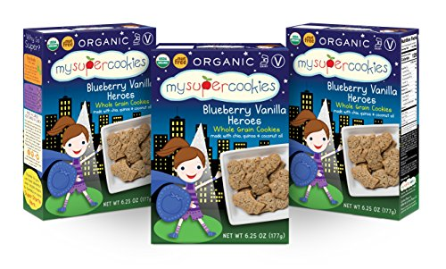 (MySuperCookies, Blueberry Vanilla Heroes (Organic, Whole Grain & Nut Free) 6.25oz (3 pack))
