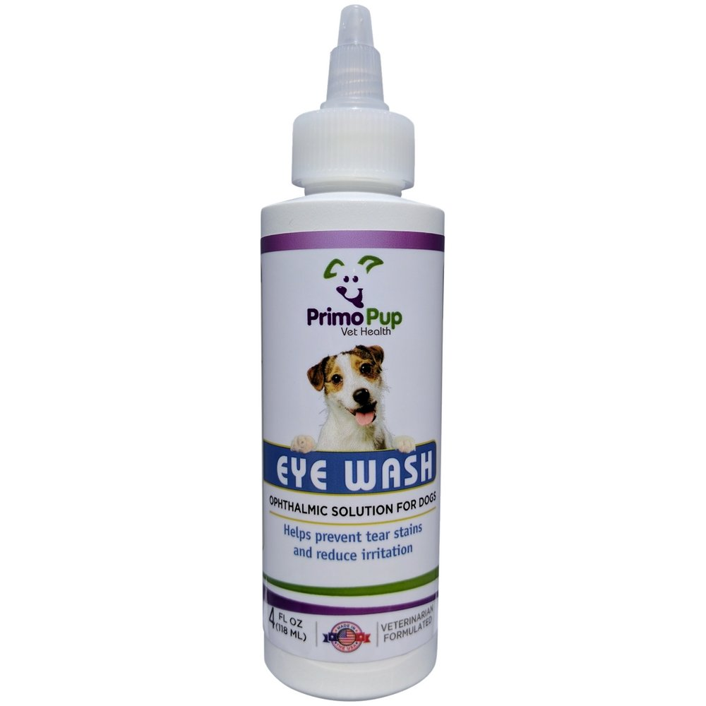 Primo Pup Vet Health - Eye Wash for Dogs - Removes Debris, Cleans Eyes, Relieves Irritation and Prevents Tear Stains - 4 Fluid Ounces by Primo Pup