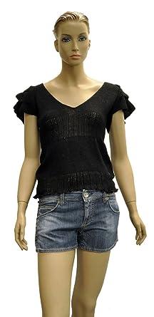 f9de68d561646 Miss Sixty Black Nylon Short Sleeve Top Blouse