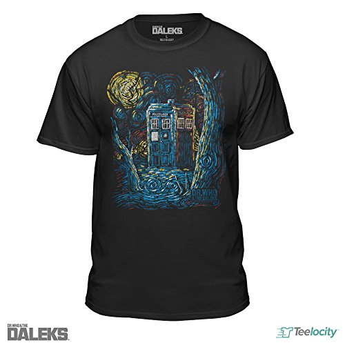 Doctor Who Starry Night Van Gogh Design Official T-Shirt (Large) Black
