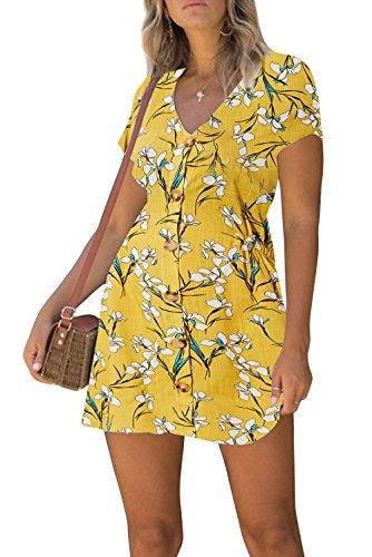 Adicreat Women Loose Floral Print Swing Tunic Dress Casual Short Sleeve T-Shirt Dress Yellow