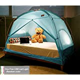TQUAD Floorless Indoor Privacy Tent on Bed for Insulation Warm Sleep in Drafty Room Saves on Heating bills (Small, Mint)