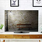 Jiahonghome Television Protector Modern Avenue at Dark Night with a Open Lamp and Bench and Stone Television Protector W36 x H60 INCH/TV 65''