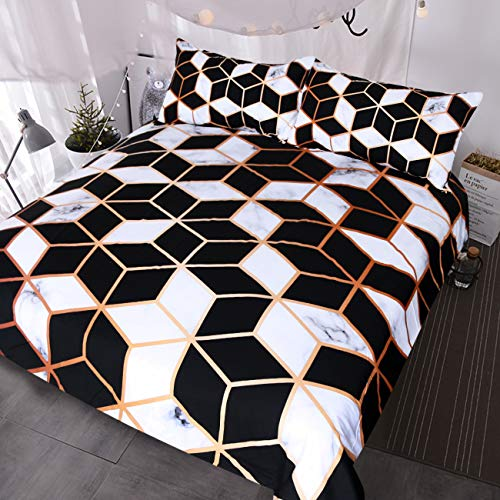 Cube Comforter Set (BlessLiving Black white Cube Marble Duvet Cover Set 3 Piece Geometric Bedding Comforter Cover Sets Teens Kids Adults (Full))